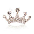 Mini Crown Hair Accessories Alloy Crystal Rhinestone Hair Pin Clip Combs - White