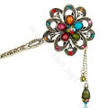 Retro Tassel Rhinestone Crystals Flower Hairpin Hair Clasp Clip Fork Stick - Multicolor