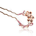 U Shape HairPin Rhinestone Crystal Flower Hair Comb Clip Fork Stick - Pink