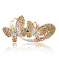 Crystal Rhinestone Butterfly Hair Clip Barrette Metal Hair Slide - Champagne
