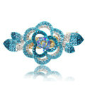 Crystal Rhinestone Flower Hair Clip Barrette Metal Hair Slide - Blue