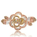 Crystal Rhinestone Flower Hair Clip Barrette Metal Hair Slide - Champagne