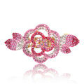 Crystal Rhinestone Flower Hair Clip Barrette Metal Hair Slide - Pink