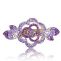 Crystal Rhinestone Flower Hair Clip Barrette Metal Hair Slide - Purple