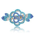 Crystal Rhinestone Flower Hair Clip Barrette Metal Hair Slide - Sky blue