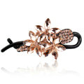 Crystal Rhinestone Flower Twist Hair Clip Slide Clamp Hair Accessories - Champagne
