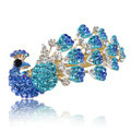 Crystal Rhinestone Peacock Hair Barrette Clip Metal Hair Slide - Blue