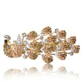 Crystal Rhinestone Peacock Hair Barrette Clip Metal Hair Slide - Champagne