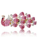 Crystal Rhinestone Peacock Hair Barrette Clip Metal Hair Slide - Pink