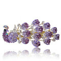 Crystal Rhinestone Peacock Hair Barrette Clip Metal Hair Slide - Purple