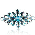 Luxury Crystal Rhinestone Flower Hair Barrette Clip Metal Hair Slide - Blue
