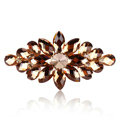 Luxury Crystal Rhinestone Flower Hair Barrette Clip Metal Hair Slide - Coffee