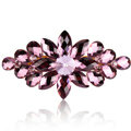 Luxury Crystal Rhinestone Flower Hair Barrette Clip Metal Hair Slide - Purple