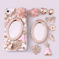 Pink Pearl Mirror Flower Rhinestone Crystal DIY Cell Phone Case Cover Deco Den Kits