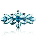 Rhinestone Crystal Flower Hair Clip Barrette Metal Hair Slide - Blue