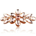 Rhinestone Crystal Flower Hair Clip Barrette Metal Hair Slide - Champagne