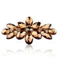 Rhinestone Crystal Flower Hair Clip Barrette Metal Hair Slide - Coffee