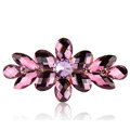 Rhinestone Crystal Flower Hair Clip Barrette Metal Hair Slide - Purple