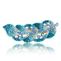 Rhinestone Crystal Leaf Hair Barrette Clip Metal Hair Slide - Blue