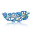 Rhinestone Crystal Leaf Hair Barrette Clip Metal Hair Slide - Sky Blue