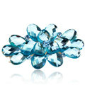 Big Crystal Rhinestone Flower Hair Barrette Clip Metal Hairpin - Blue