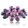 Big Crystal Rhinestone Flower Hair Barrette Clip Metal Hairpin - Purple