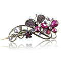 Crystal Rhinestone Butterfly Retro Hairpin Duckbill Clip Hair Slide Clamp - Purple