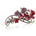 Crystal Rhinestone Butterfly Retro Hairpin Duckbill Clip Hair Slide Clamp - Red