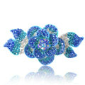 Crystal Rhinestone Elegant Flower Hair Barrette Clip Metal Hairpin - Blue