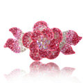 Crystal Rhinestone Elegant Flower Hair Barrette Clip Metal Hairpin - Pink