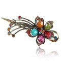 Crystal Rhinestone Flower Retro Hairpin Duckbill Clip Hair Slide Clamp - Multicolor