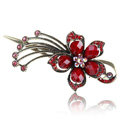 Crystal Rhinestone Flower Retro Hairpin Duckbill Clip Hair Slide Clamp - Red