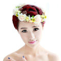 Wedding Bride Jewelry Crystal Pearl Anadem Lace Headband Flower Hair Accessories