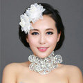Wedding Bride Jewelry Crystal Pearl Lace Hairpin Headband Headpiece Flower Hair Accessories