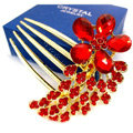 Wedding Hairpins bridal hair jewelry crystal rhinestone red Flower hair Combs