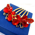 Wedding Hairpins bridal hair jewelry crystal rhinestone red butterfly hair Combs