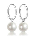 10X25mm White south sea shell pearl earrings 925 sterling silver hoop earrings