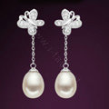 925 sterling silver Butterfly earrings White shell pearl long Eardrop 34X10mm