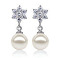 925 sterling silver Natural freshwater pearl Snowflake earrings Eardrop 8.5X9mm