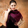 Autumn and Winter Mink Cashmere wool Scarf Shawl Woman Neck Wrap tippet - Purple