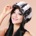 Autumn and winter Women's Knitted Rex Rabbit Fur Hats beret hat Stripe Warm Caps - Brown White
