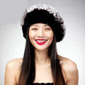 Autumn and winter fur rabbit beret hat warm caps cold-proof rex rabbit hair hat - Black Coffee