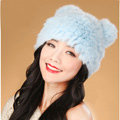 Child kids Rabbit Fur Hat Knitted Thicker Winter Warm Cute Baby female Caps - Blue