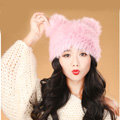 Child kids Rabbit Fur Hat Knitted Thicker Winter Warm Cute Baby female Caps - Pink