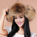 Fashion Women Fox Fur Hats Winter Warm Whole Leather Ear protector Caps - Brown