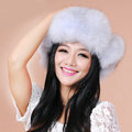 Fashion Women Fox Fur Hats Winter Warm Whole Leather Ear protector Caps - Light Gray