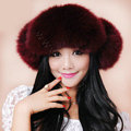 Fashion Women Fox Fur Hats Winter Warm Whole Leather Ear protector Caps - Red