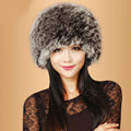 Fashion Women Fox Fur Hats Winter Warm Whole Leather lei feng Caps - Brown