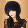 Fashion Women Fox Fur Hats Winter Warm Whole Leather lei feng Caps - Dark blue