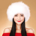 Fashion Women Fox Fur Hats Winter Warm Whole Leather lei feng Caps - White
